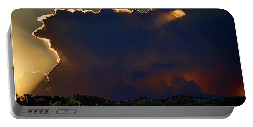 Florida Portable Battery Charger featuring the mixed media Eye Of The Storm by Rogermike Wilson