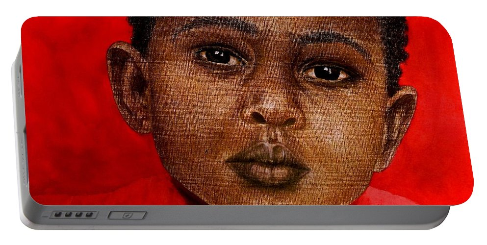 Painting Portable Battery Charger featuring the painting Eyes Of Innocence by Edith Peterson