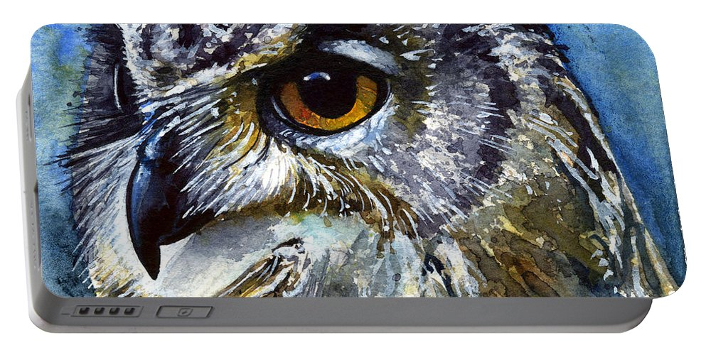 Owls Portable Battery Charger featuring the painting Eyes Of Owls No.25 by John D Benson
