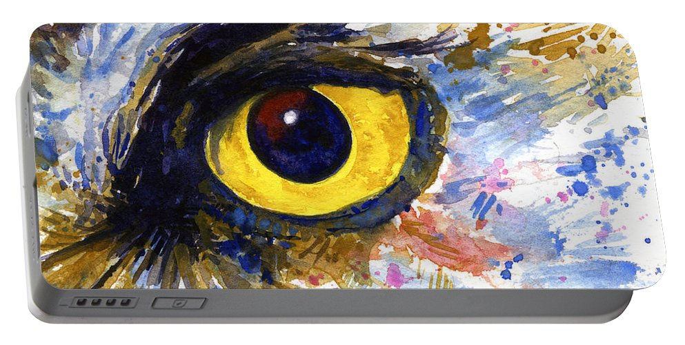 Owls Portable Battery Charger featuring the painting Eyes Of Owl's No.6 by John D Benson