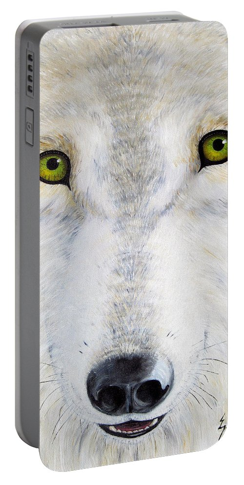 Wolf Portable Battery Charger featuring the painting Eyes Of The Wolf by Jerome Stumphauzer