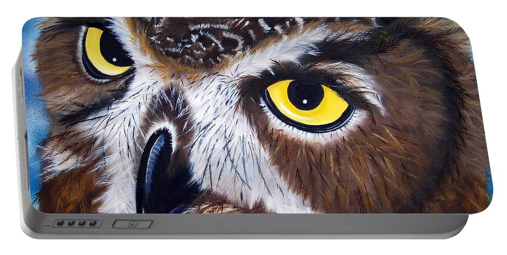 Owl Portable Battery Charger featuring the painting Eyes Of Wisdom by Debbie LaFrance
