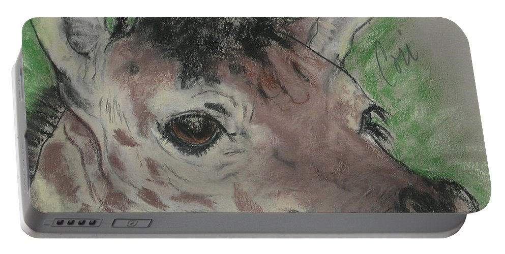 Giraffe Portable Battery Charger featuring the drawing Eyes On You by Cori Solomon