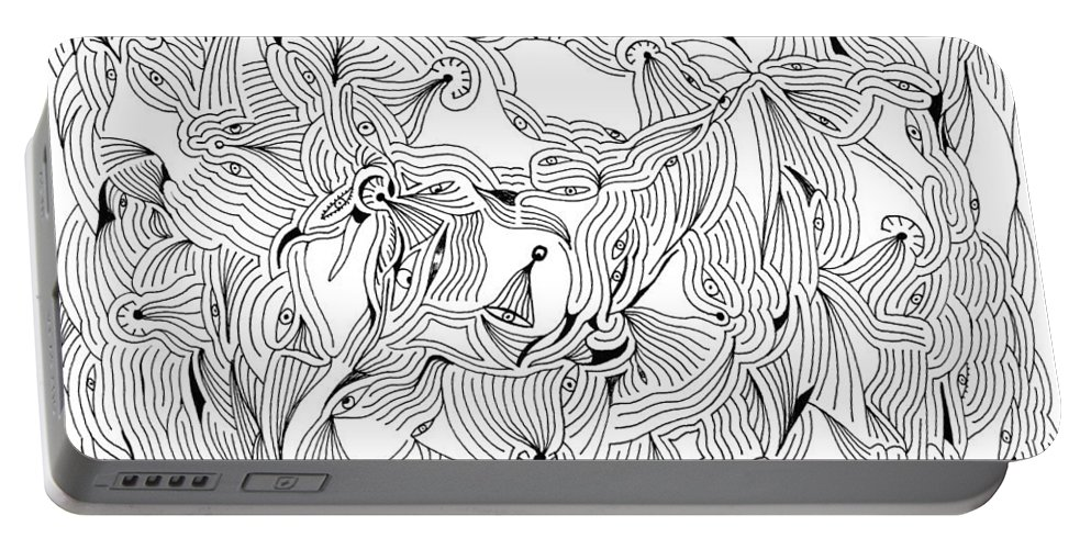 Mazes Portable Battery Charger featuring the drawing Eyes by Steven Natanson