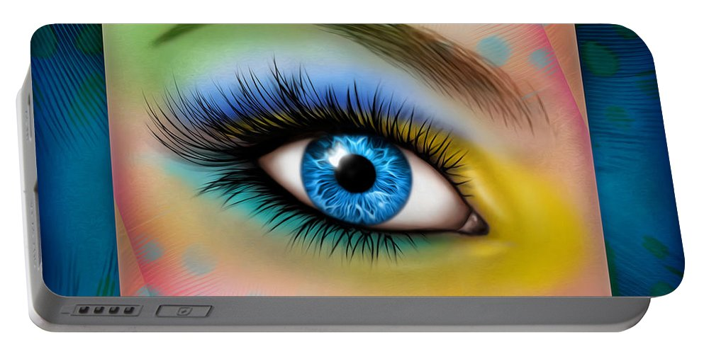 Eye Portable Battery Charger featuring the mixed media Eyetraction by James Piazza