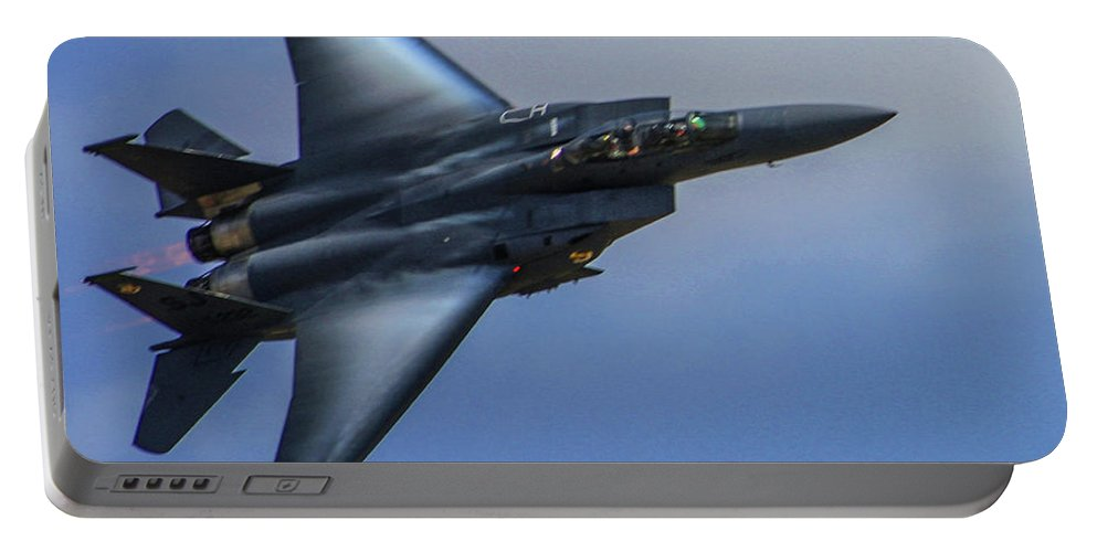 Mcdonnell Douglas F-15 Strike Eagle Portable Battery Charger featuring the photograph F-15 Going Supersonic by Tommy Anderson