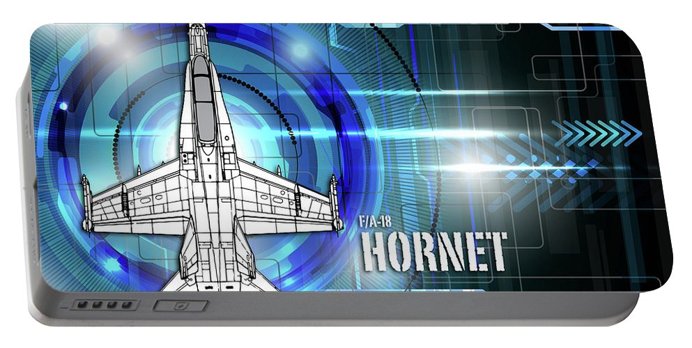 F-18 Portable Battery Charger featuring the digital art F/a-18 Hornet by J Biggadike