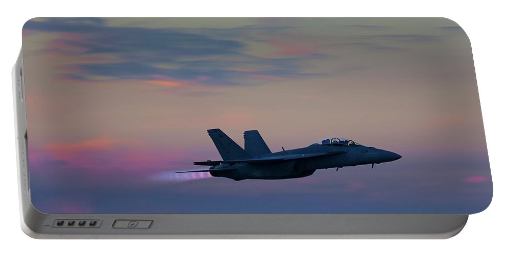 F/a-18 Super Hornet Portable Battery Charger featuring the photograph F/a -18 Super Hornet, Dusk, Afterburner by Bruce Beck