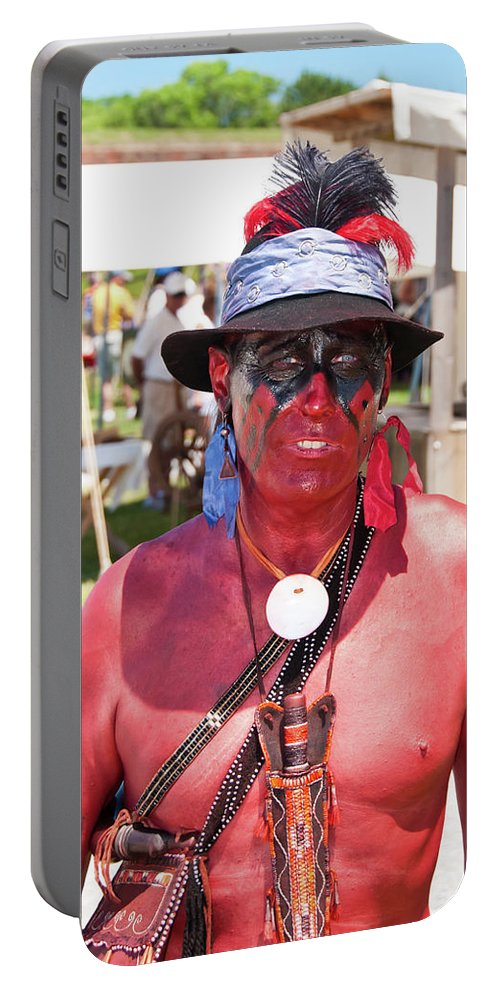 French & Indian War Re-enactor Portable Battery Charger featuring the photograph F And I War Re-enactor 6965 by Guy Whiteley