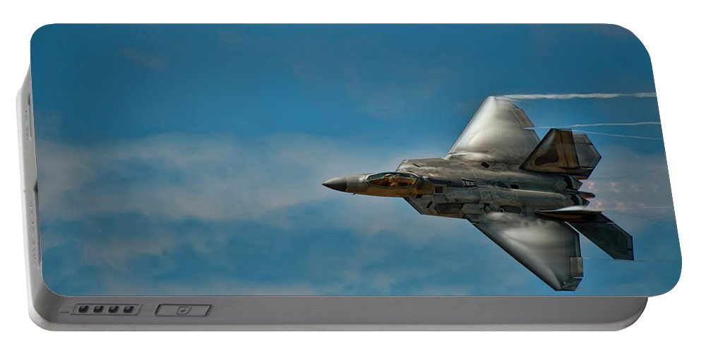 Hawaii Portable Battery Charger featuring the photograph F22 Raptor Steals The Show by Dan McManus