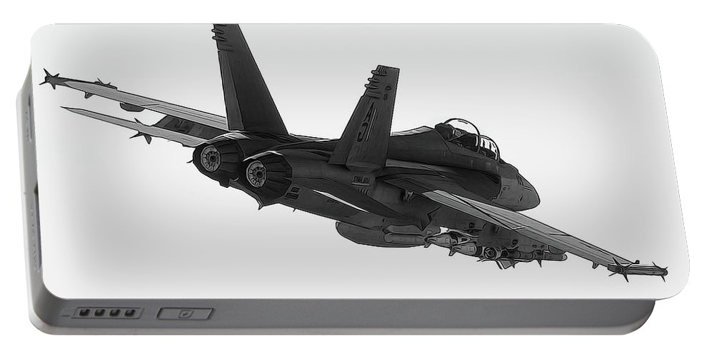 Fa-18 Portable Battery Charger featuring the painting Fa-18 In Black And White by Andrea Mazzocchetti