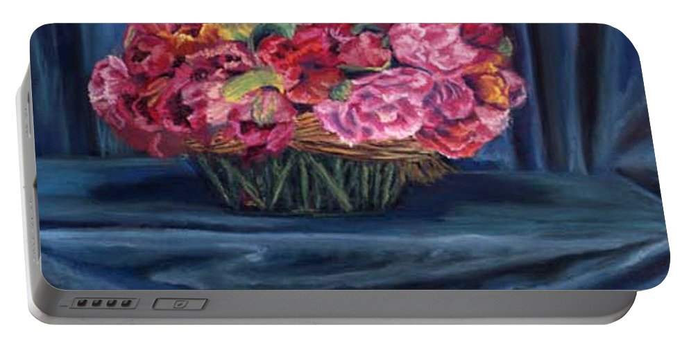 Flowers Portable Battery Charger featuring the painting Fabric And Flowers by Sharon E Allen
