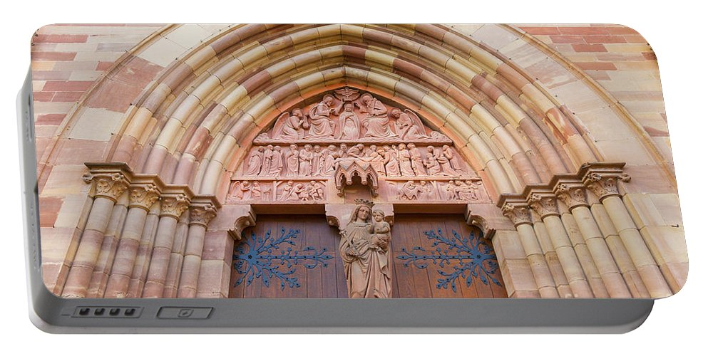 Alsace Portable Battery Charger featuring the photograph Facade Church Of Obernai,alsace France 073540 by Marco Arduino