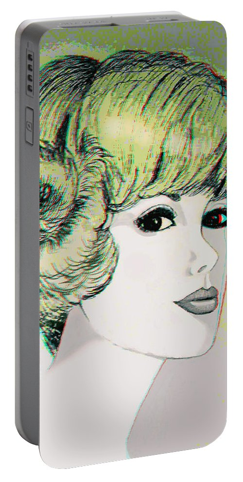 3d Portable Battery Charger featuring the photograph Face - Use Red-cyan 3d Glasses by Brian Wallace
