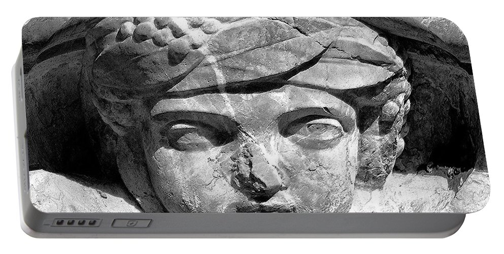 Art Portable Battery Charger featuring the painting Face In The Fountain by David Lee Thompson