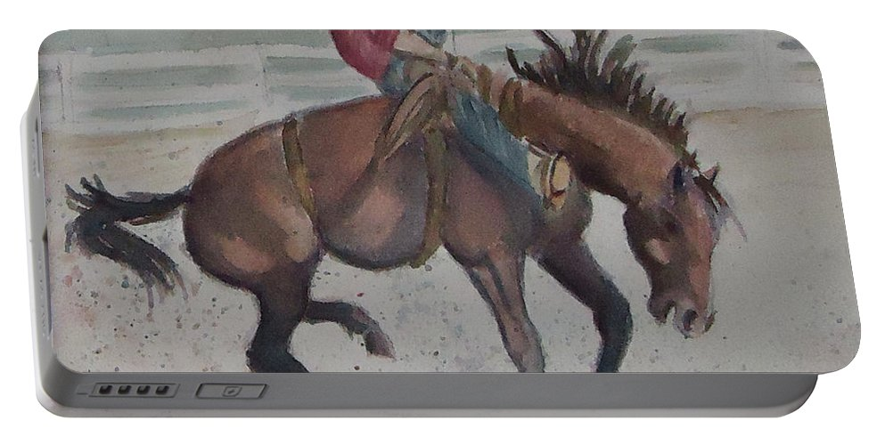 This Bronc Is A Sunfisher !bronco Portable Battery Charger featuring the painting Face Meet The Chaps by Charme Curtin