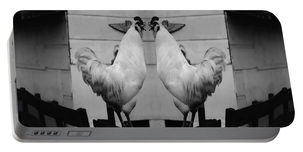 Rooster Portable Battery Charger featuring the photograph Face Off by Peter Piatt