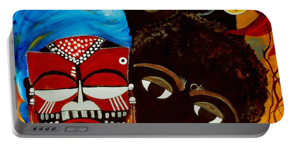 Abstract Portable Battery Charger featuring the painting Faces Of Africa by Ruth Palmer