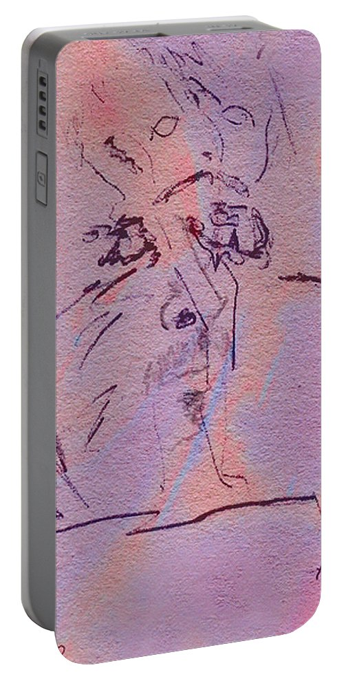Abstract Portable Battery Charger featuring the mixed media Faces Of Trivia by Steve Karol