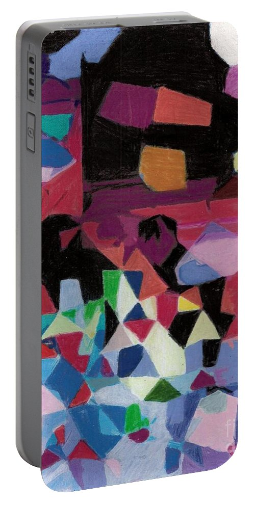 Abstract.abstraction Portable Battery Charger featuring the painting Facet 20180714 by John Warren OAKES