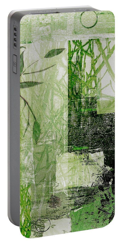 Abstract Portable Battery Charger featuring the mixed media Faded Floral by Ruth Palmer