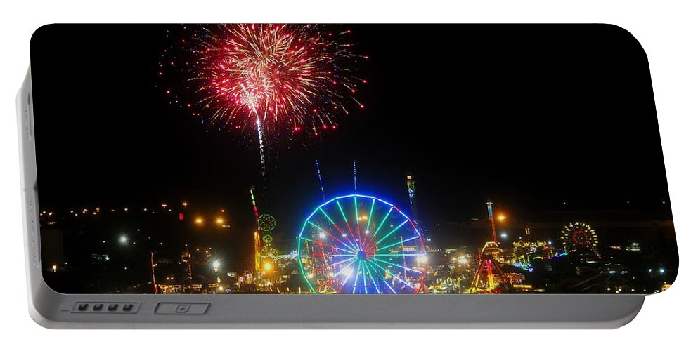 Fireworks Portable Battery Charger featuring the photograph Fair Fireworks by David Lee Thompson
