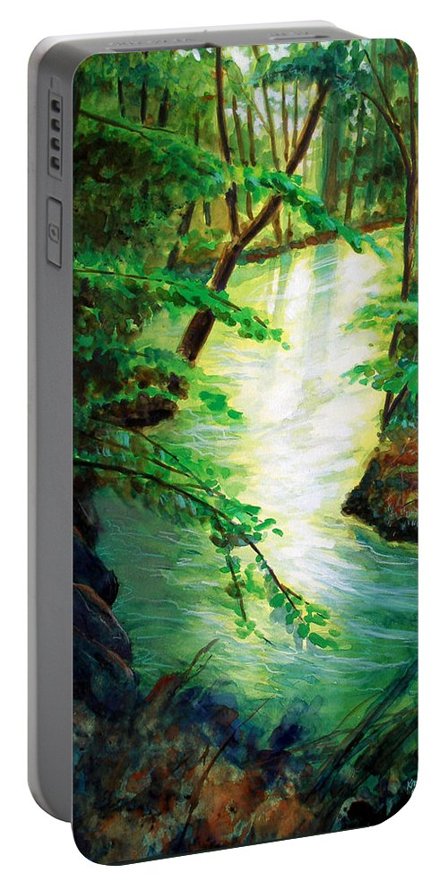Forest Portable Battery Charger featuring the painting Fairfax Summer by Ken Meyer