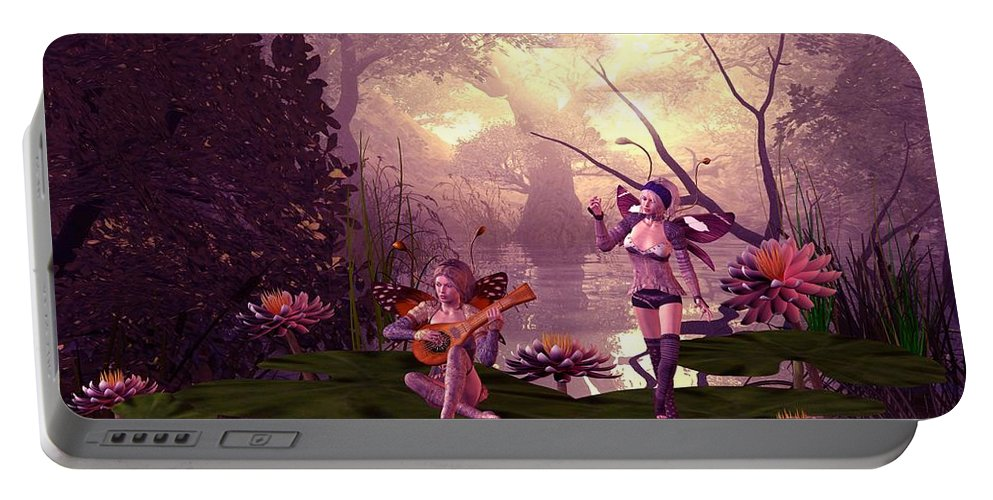 Fantasy Portable Battery Charger featuring the digital art Fairies At A Pond by John Junek