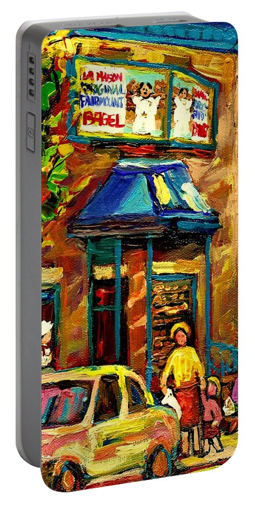 Fairmount Bagel Portable Battery Charger featuring the painting Fairmount Bagel In Montreal by Carole Spandau