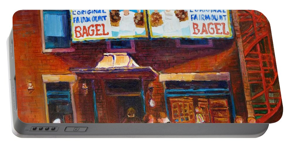 Fairmount Bagel Portable Battery Charger featuring the painting Fairmount Bagel With Blue Car by Carole Spandau