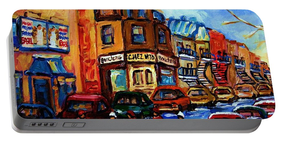 Hockey Portable Battery Charger featuring the painting Fairmount Bagel With Hockey Game by Carole Spandau