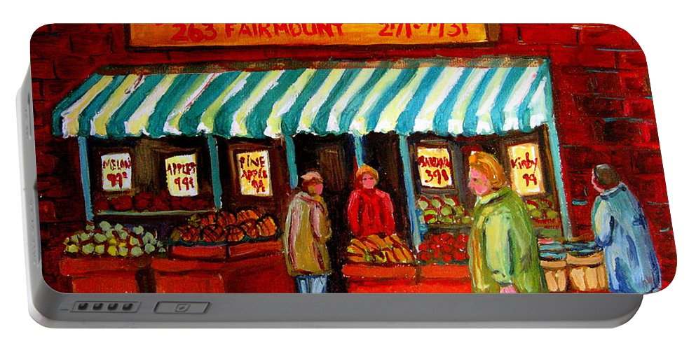 Fairmount Fruits And Vegetables Portable Battery Charger featuring the painting Fairmount Fruit And Vegetables by Carole Spandau