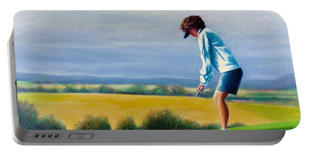 Golfer Portable Battery Charger featuring the painting Fairy Golf Mother by Shannon Grissom