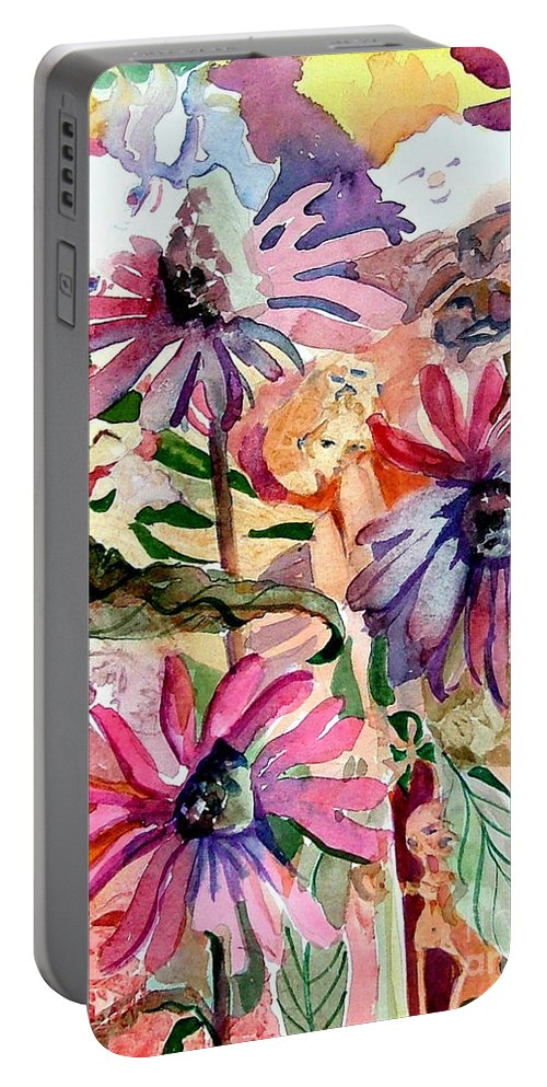 Daisy Portable Battery Charger featuring the painting Fairy Land by Mindy Newman