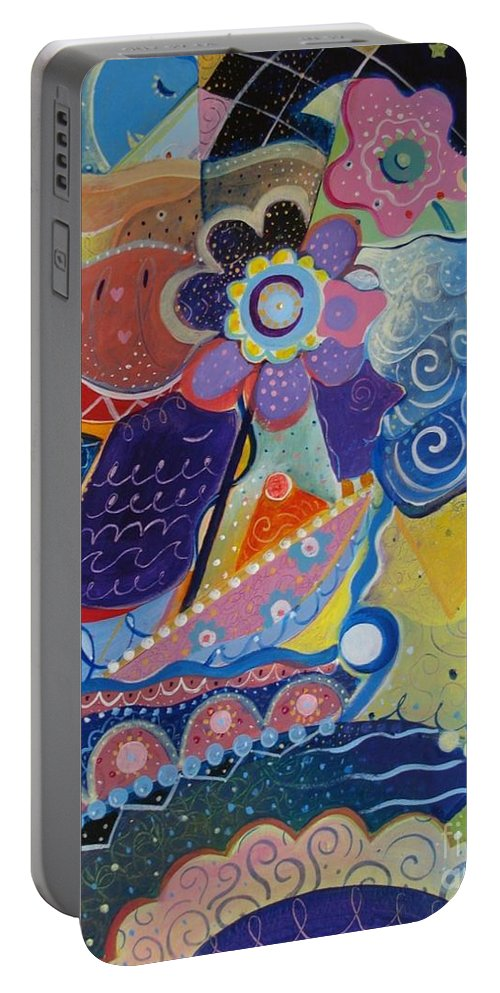 Imaginary Portable Battery Charger featuring the painting Fairy Tales by Helena Tiainen