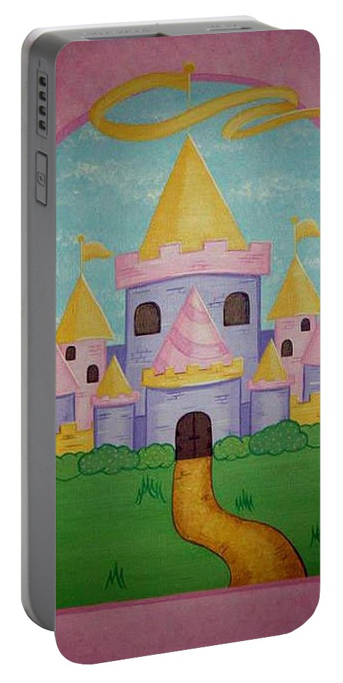 Castle Portable Battery Charger featuring the painting Fairytale Castle by Valerie Carpenter