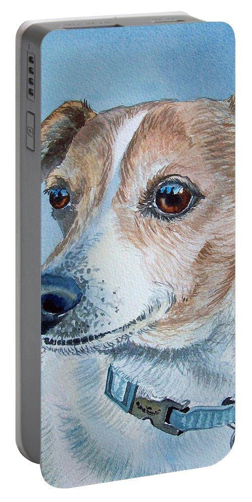 Dog Portable Battery Charger featuring the painting Beloved Dog Commission By Irina Sztukowski by Irina Sztukowski