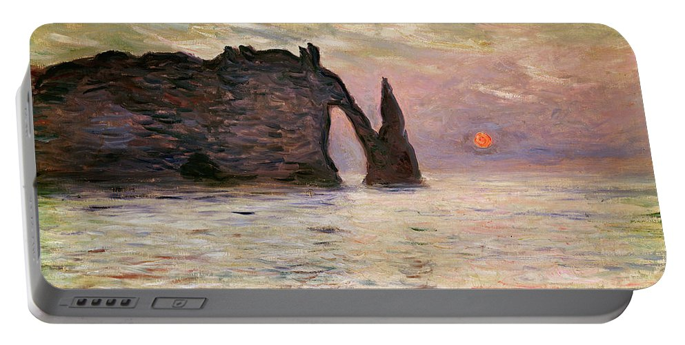 Falaise Portable Battery Charger featuring the painting Falaise Detretat by Claude Monet