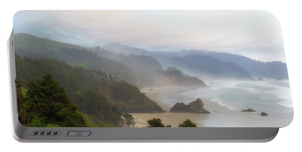 Cannon Portable Battery Charger featuring the photograph Falcon And Silver Point At Oregon Coast by David Gn