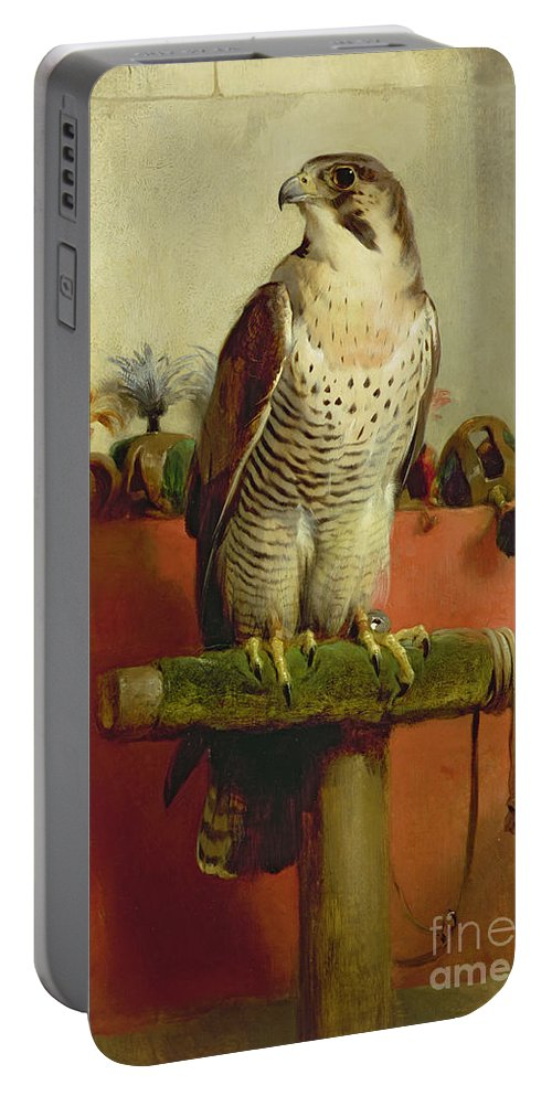 Falcon Portable Battery Charger featuring the painting Falcon by Sir Edwin Landseer