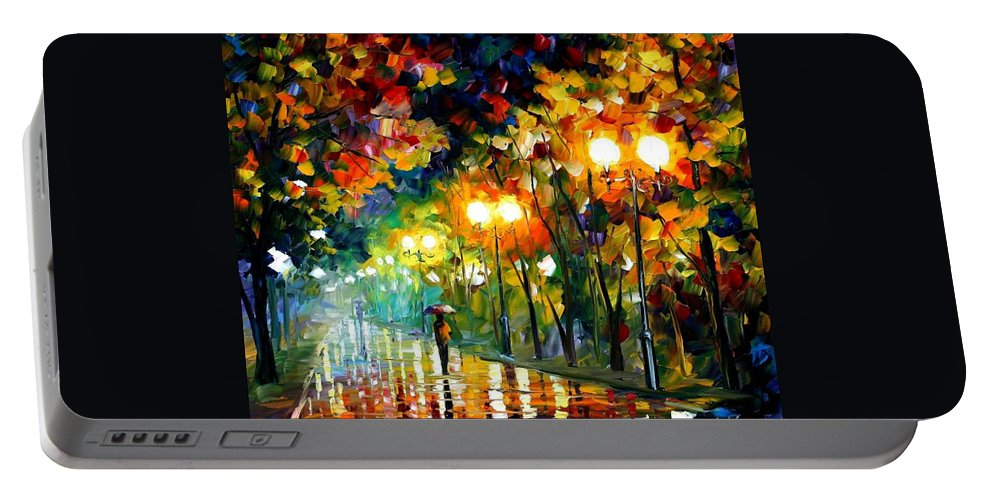 Afremov Portable Battery Charger featuring the painting Fall Alley by Leonid Afremov