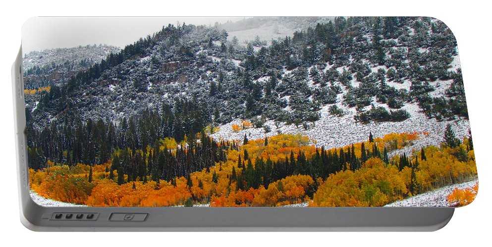 Fall Portable Battery Charger featuring the photograph Fall And Winter Collide by Carol Dyer