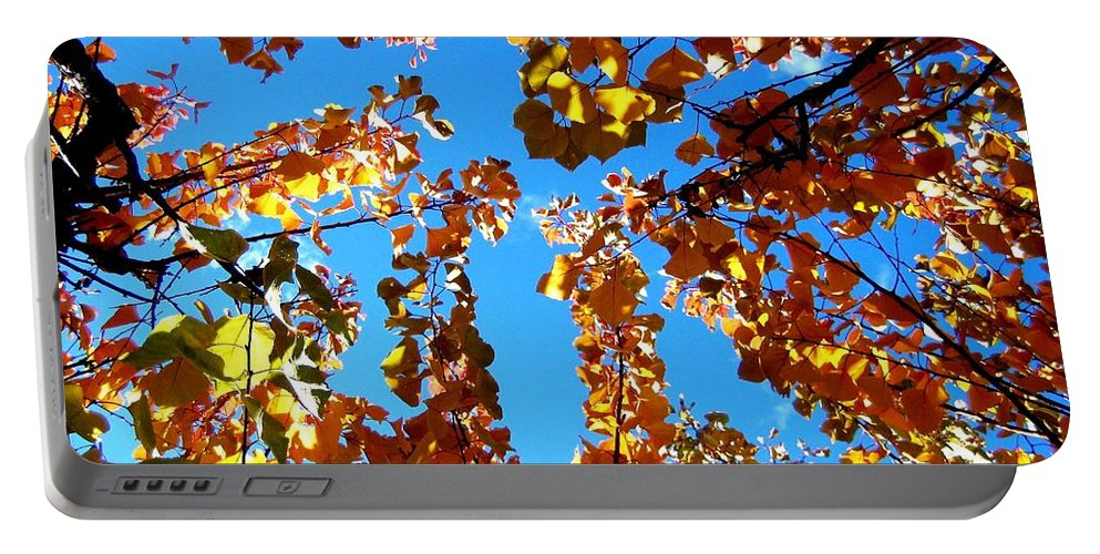 Apricot Leaves Portable Battery Charger featuring the photograph Fall Apricot Leaves by Will Borden