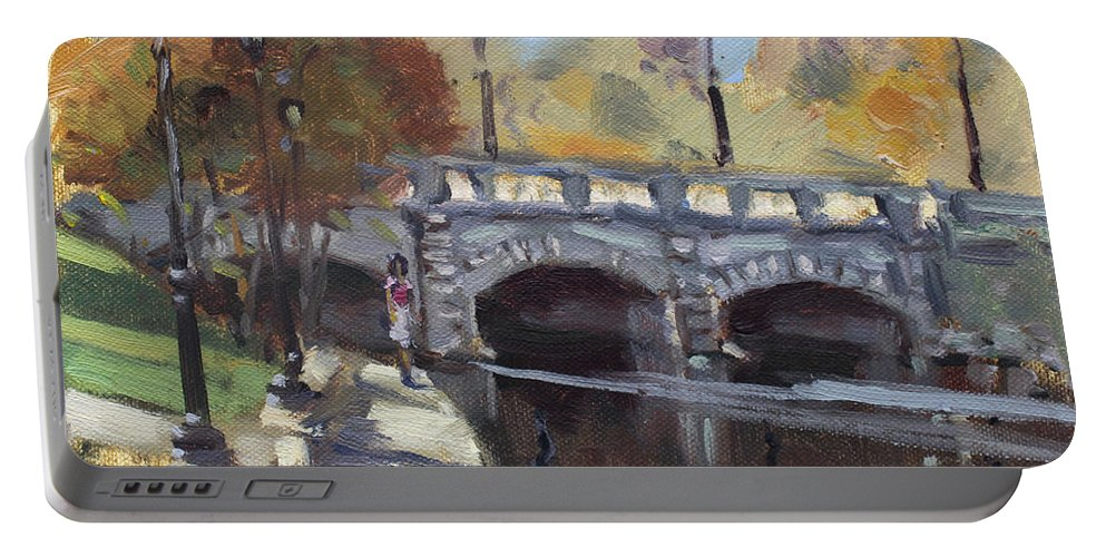 Fall Portable Battery Charger featuring the painting Fall At Delaware Park Buffalo by Ylli Haruni