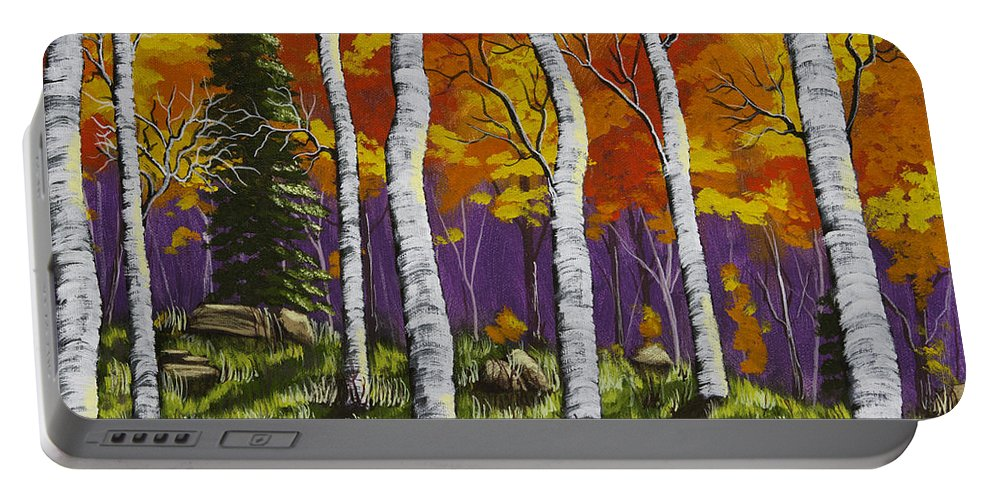 White Portable Battery Charger featuring the painting Fall Birch Trees Painting by Keith Webber Jr