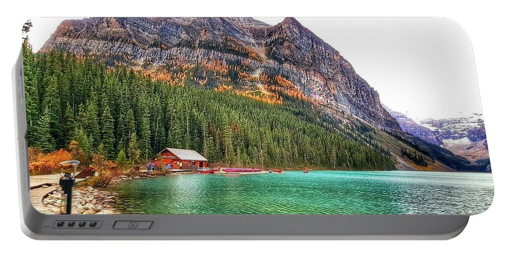 Glacier Portable Battery Charger featuring the photograph Fall Colors At Lake Louise Alberta by Nadia Seme