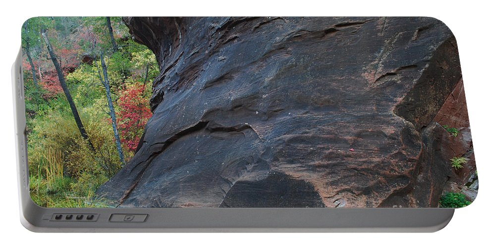 Photo Portable Battery Charger featuring the photograph Fall Colors Peek Around Mountain Horizontal Number 1 by Heather Kirk