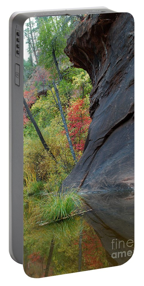 Landscape Portable Battery Charger featuring the photograph Fall Colors Peek Around Mountain Vertical by Heather Kirk