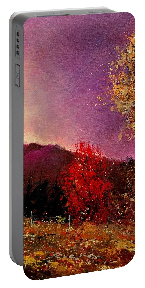 River Portable Battery Charger featuring the painting Fall Colors by Pol Ledent