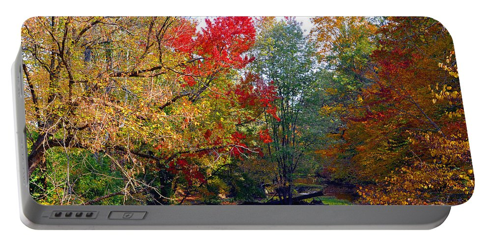 Autumn Reflections Portable Battery Charger featuring the photograph Fall Creek by Brittany Horton
